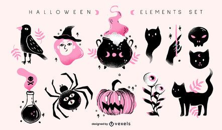 halloween elements illustration set