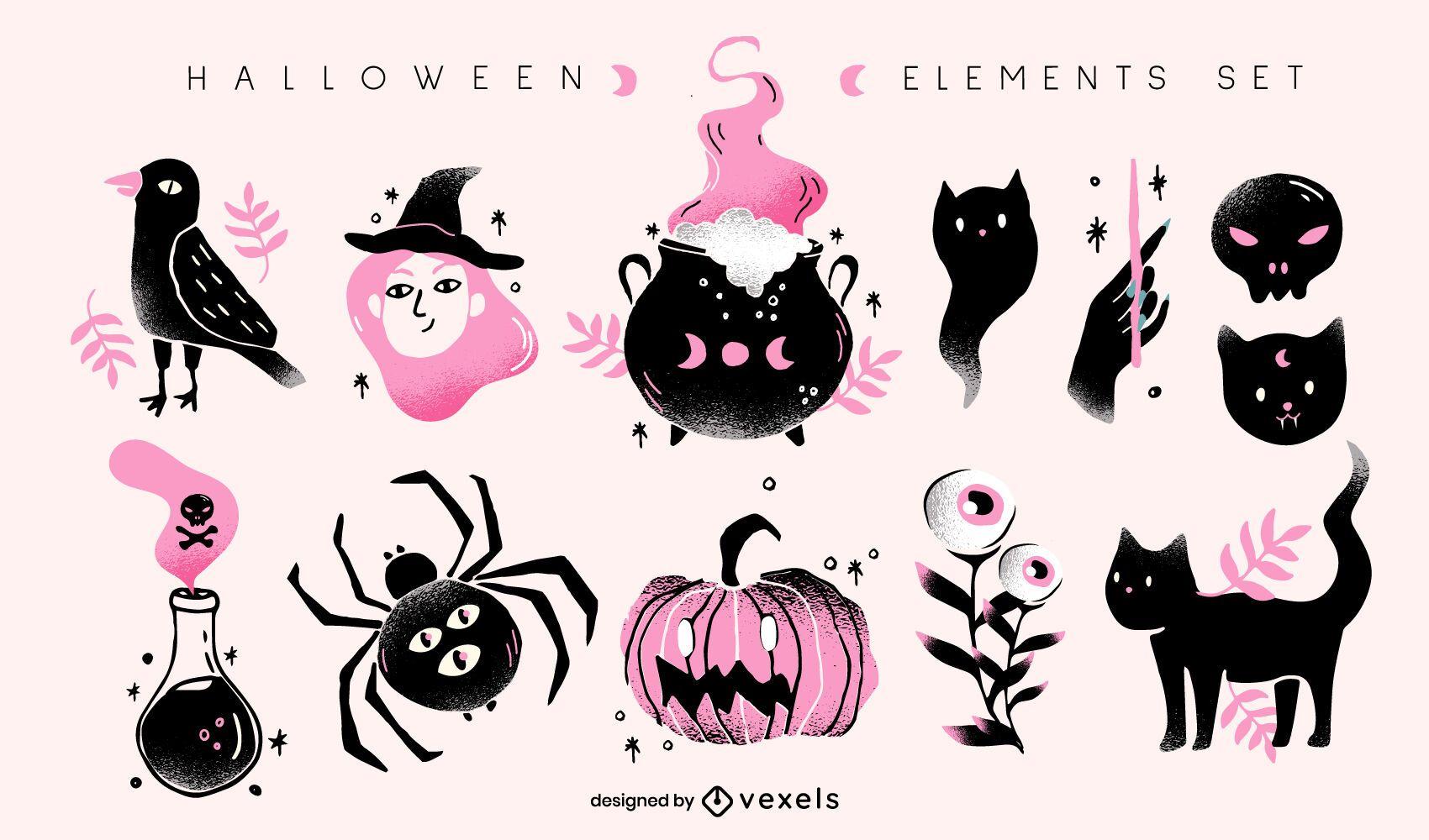 conjunto de ilustração de elementos de halloween