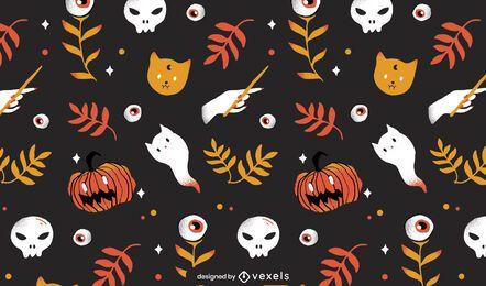 diseño de patrón de elementos de halloween