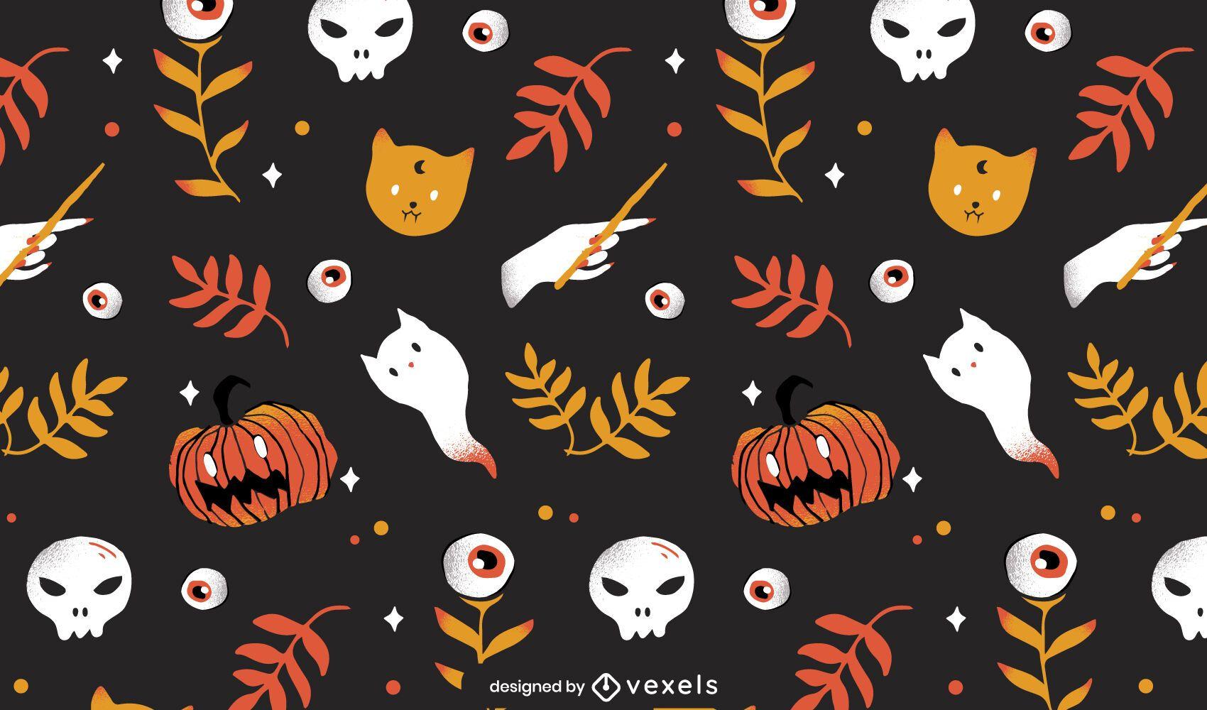 projeto de padrão de elementos de halloween
