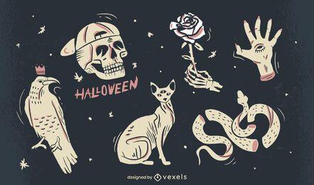 conjunto de ilustração de elementos assustadores de halloween