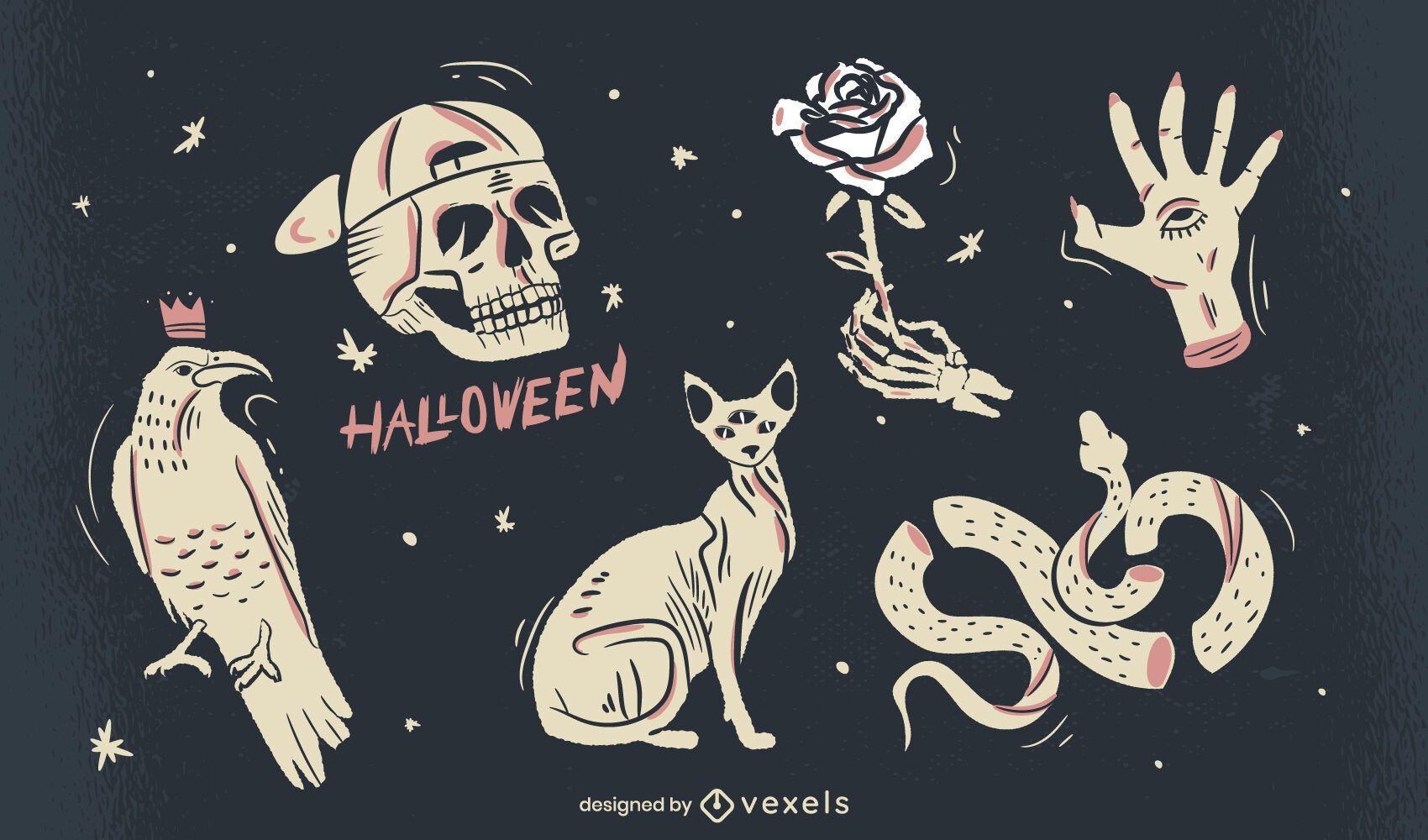halloween spooky elements illustration set