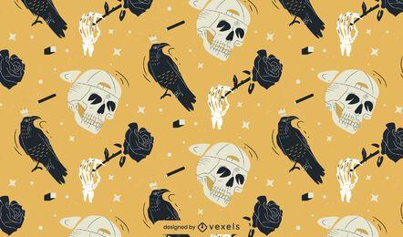 desenho de padrão de caveira e corvos
