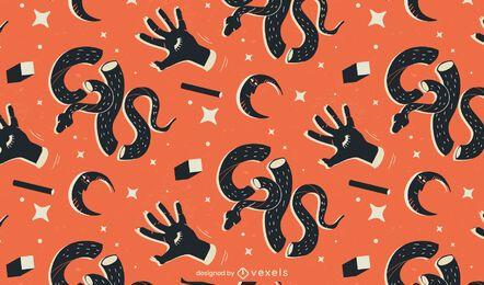 desenho de padrão de cobras e mãos