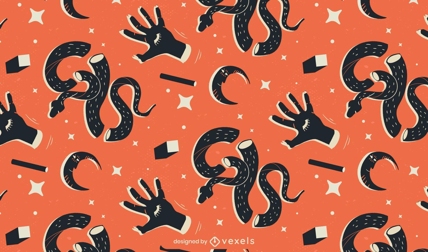 dise?o de patrones de serpientes y manos