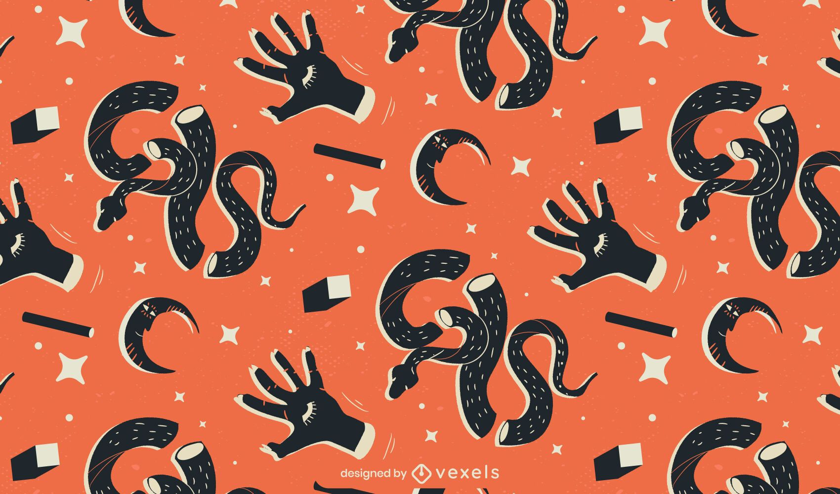 snakes and hands pattern design