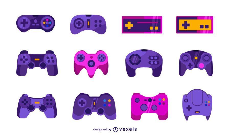 joystick flat illustration set