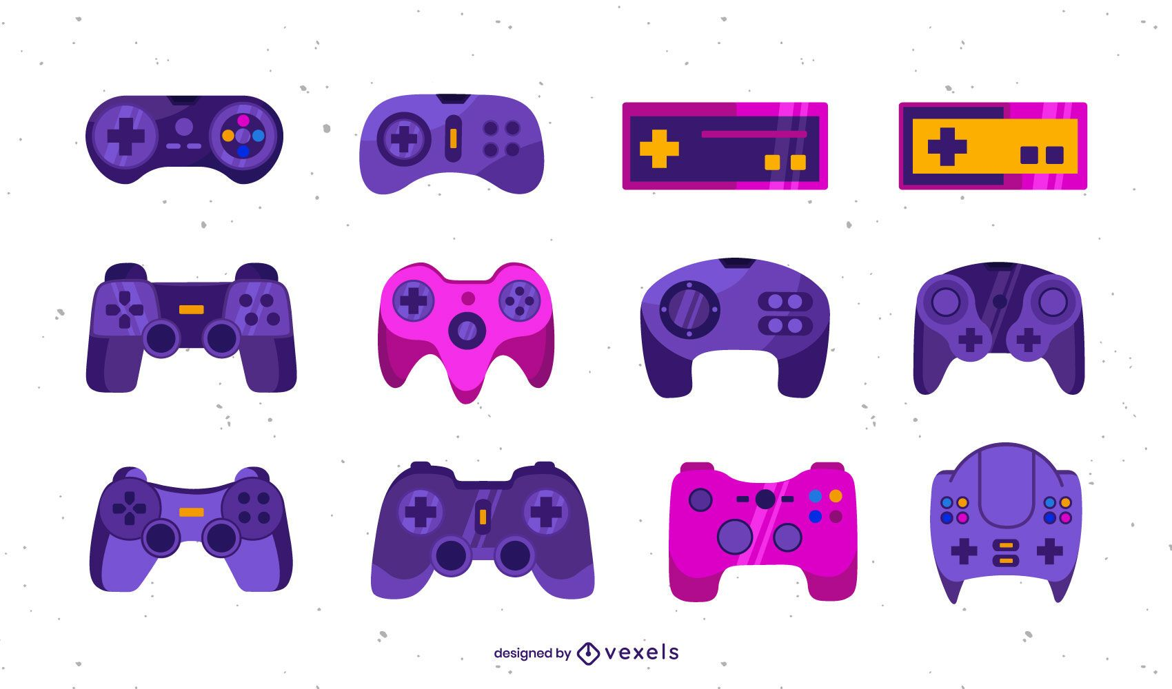 conjunto de ilustración plana de joystick