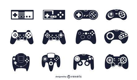 joystick black illustration set