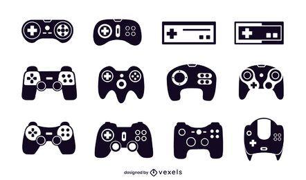 conjunto de ilustração de joystick preto