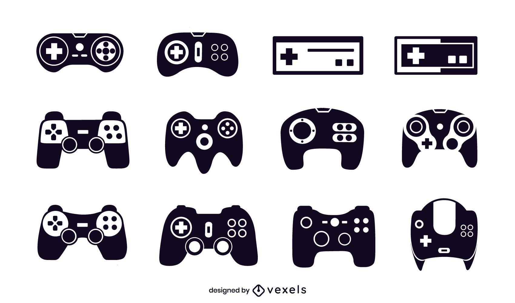 conjunto de ilustración de joystick negro