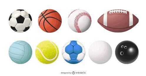 conjunto de balones deportivos realistas