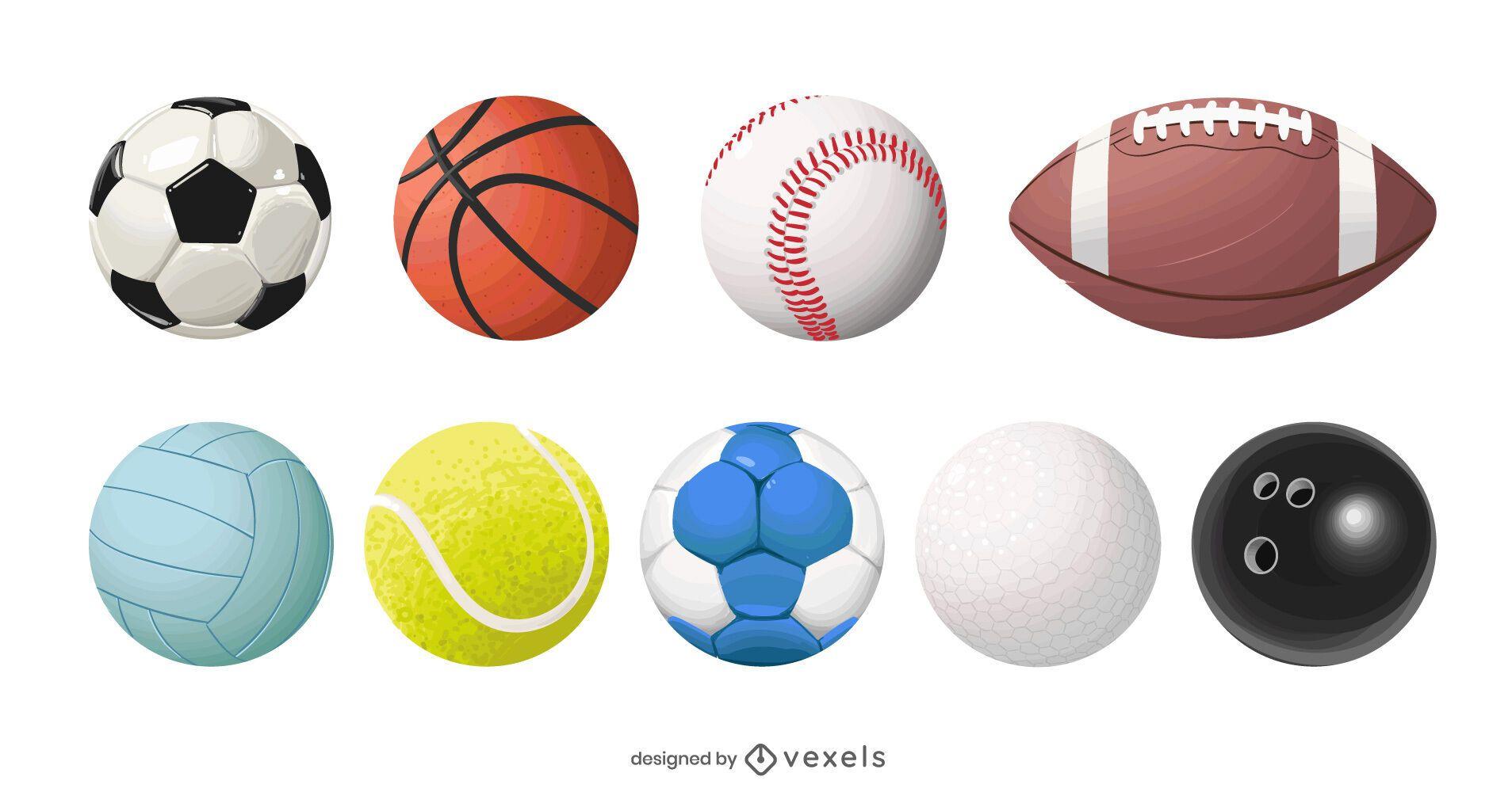 realistic sport balls set