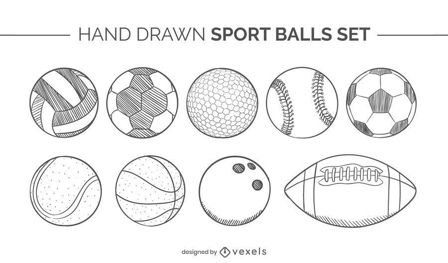sport balls hand drawn set