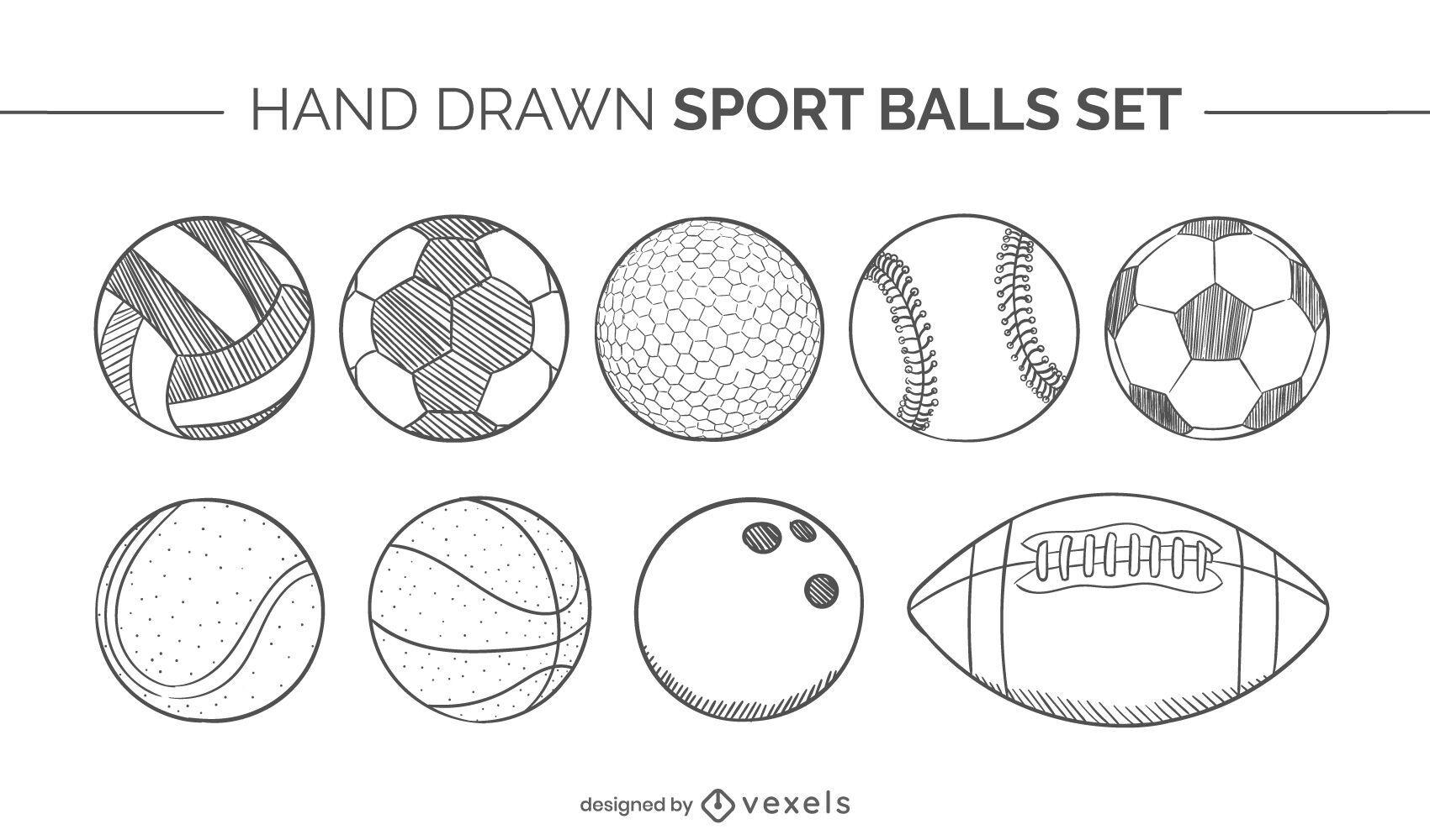 balones deportivos conjunto dibujado a mano