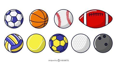 conjunto de ilustración de pelotas de deporte