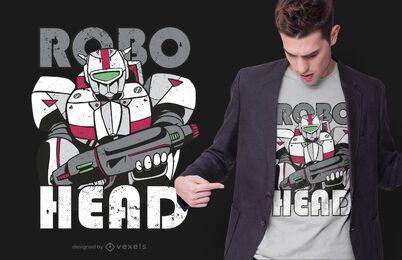 design de t-shirt de cabeça robo