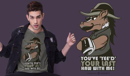 diseño de camiseta horse yee haw