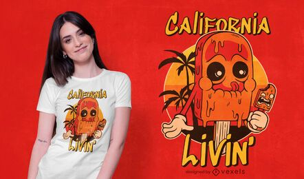design de t-shirt de sorvete da califórnia