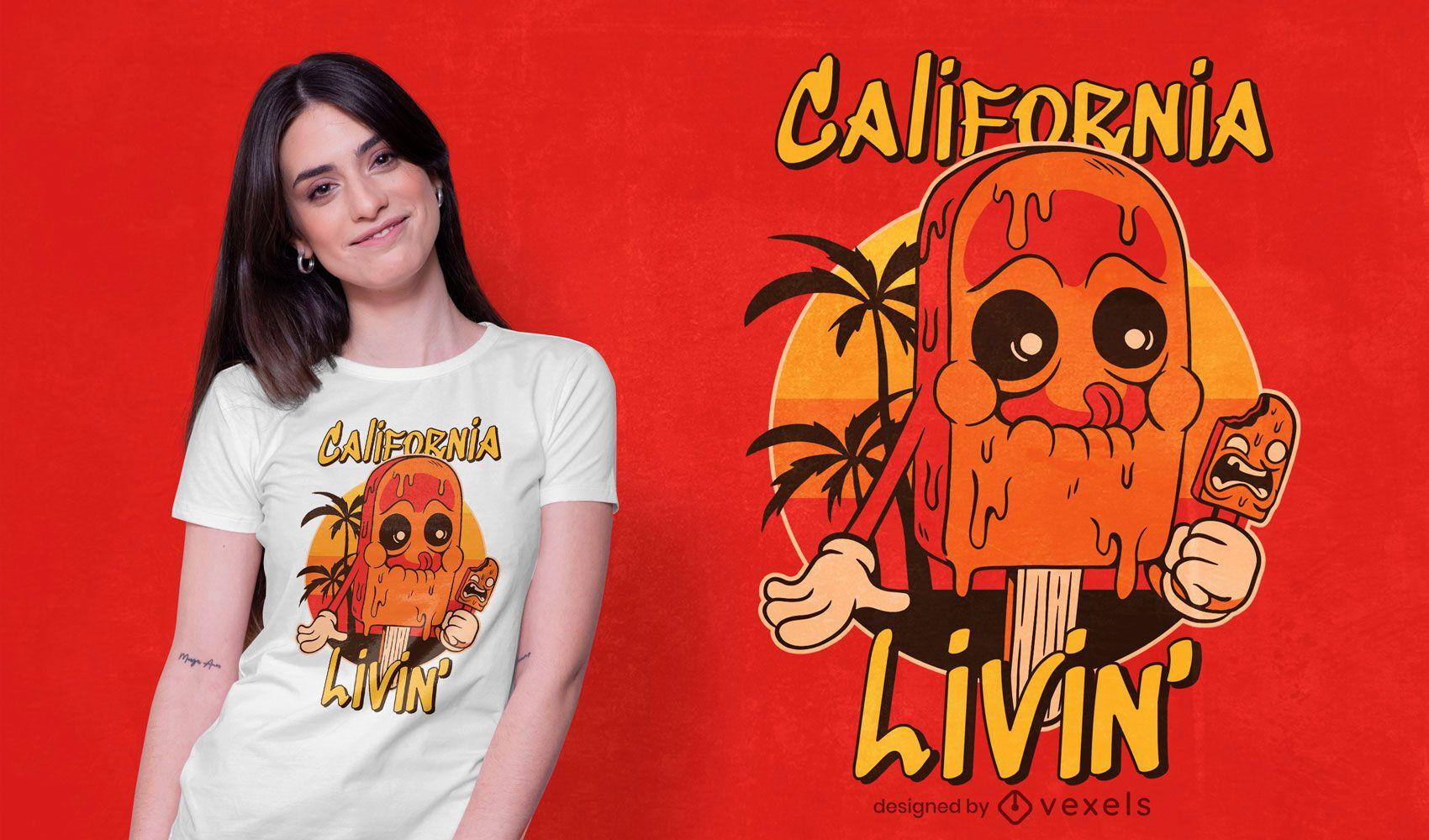 design de camiseta de sorvete da califórnia