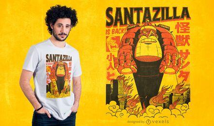 santazilla está de volta design de t-shirt