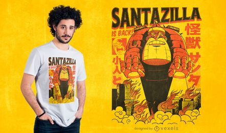 santazilla is back t-shirt design