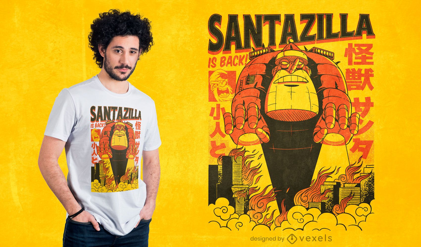 santazilla is back t-shirt design