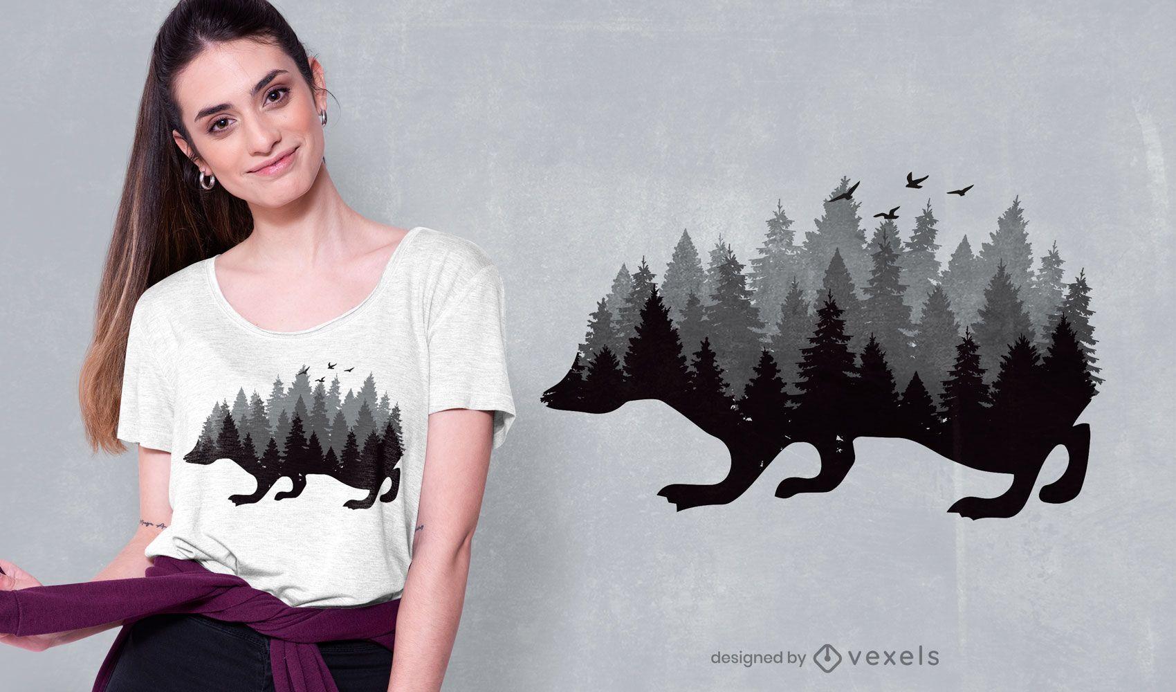 design de t-shirt da floresta ouriço