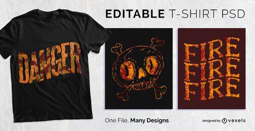 Design de t-shirt de textura de fogo PSD