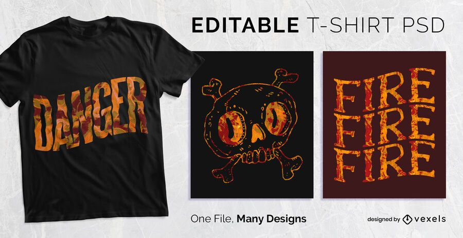 Fire Texture T-shirt Design PSD