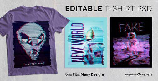 Falha angustiada t-shirt Design PSD