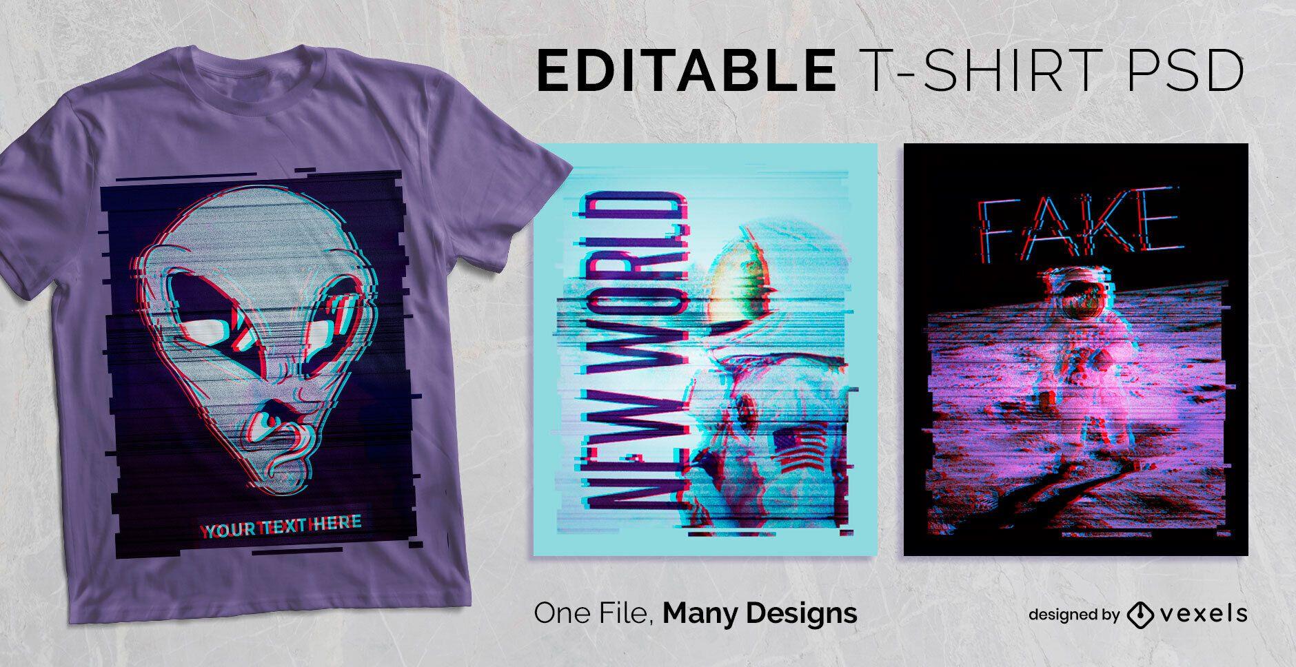 Distressed Glitch T-shirt Design PSD