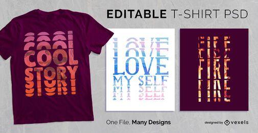 Efeito de texto estroboscópico t-shirt Design PSD