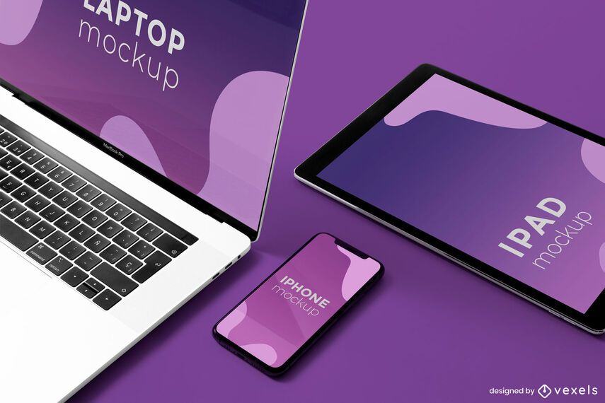 electronic devices mockup composition