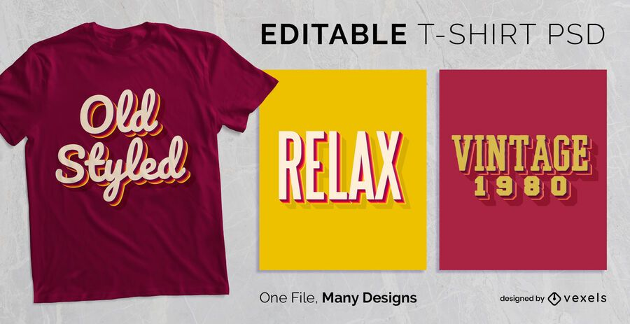 Vintage Drop Shadow Text T-shirt Design PSD