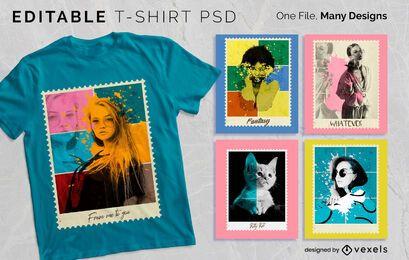 Design de camiseta postal foto PSD