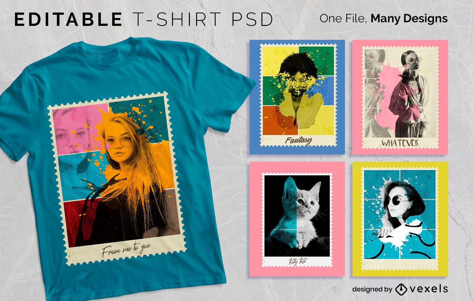 Diseño de camiseta de foto postal PSD