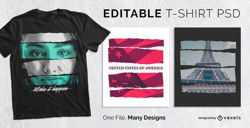 Efeito de tira de papel t-shirt Design PSD