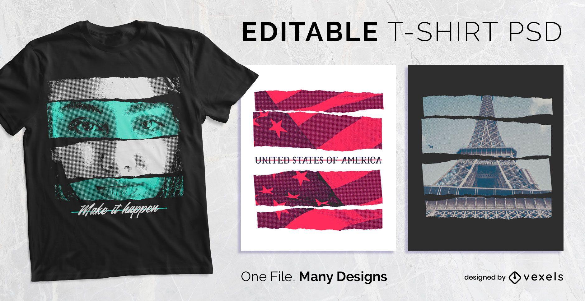 Diseño de camiseta con efecto de tira de papel PSD