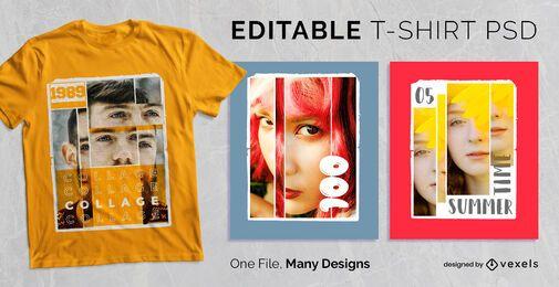 Design de camisetas com colagem retrô PSD