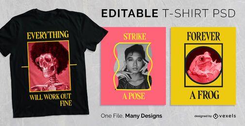 Design de t-shirt com moldura de texto simples PSD
