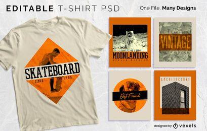 T-shirt de distintivo de texto vintage Design PSD
