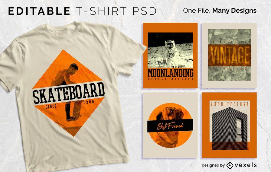 Vintage Text Abzeichen T-Shirt Design PSD