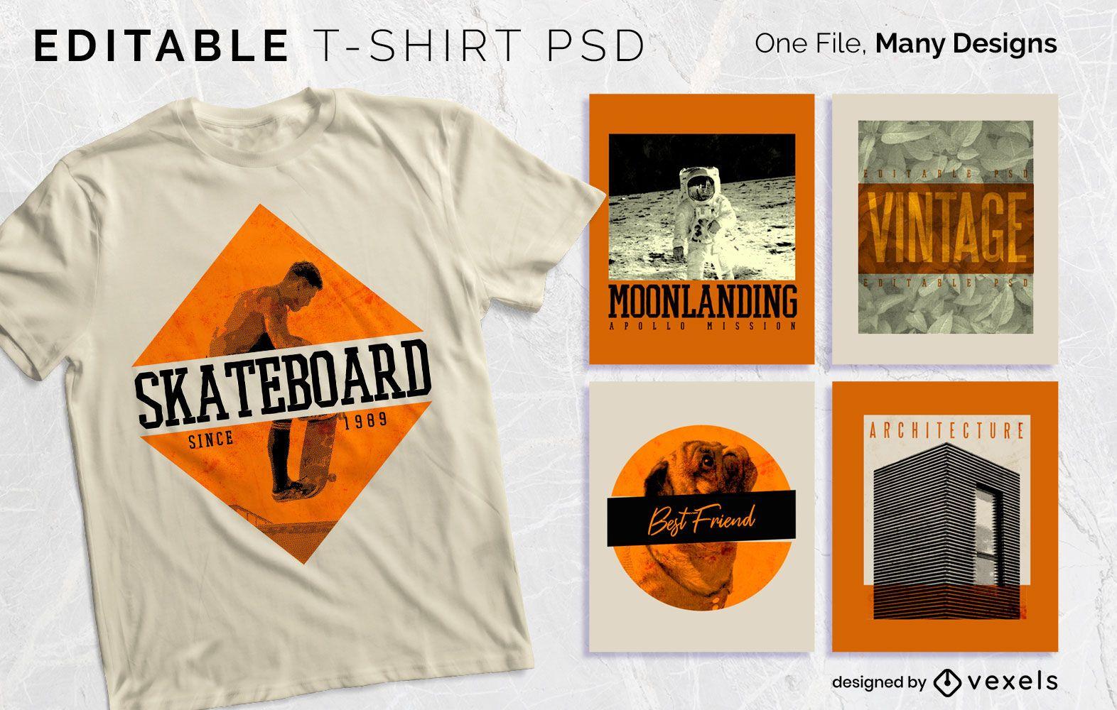 Vintage Text Badge T-shirt Design PSD