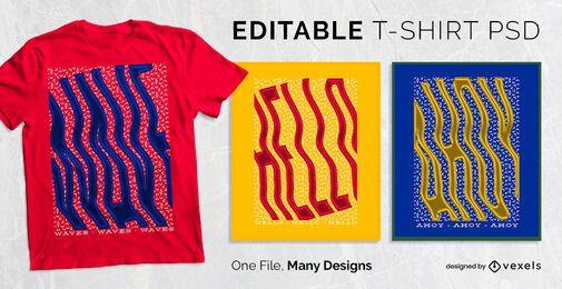 Design de t-shirt de texto de onda PSD