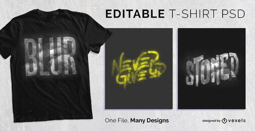 Diseño de camiseta con efecto de texto borroso PSD