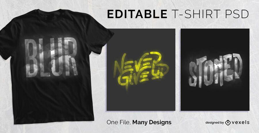 Efeito de texto embaçado t-shirt Design PSD