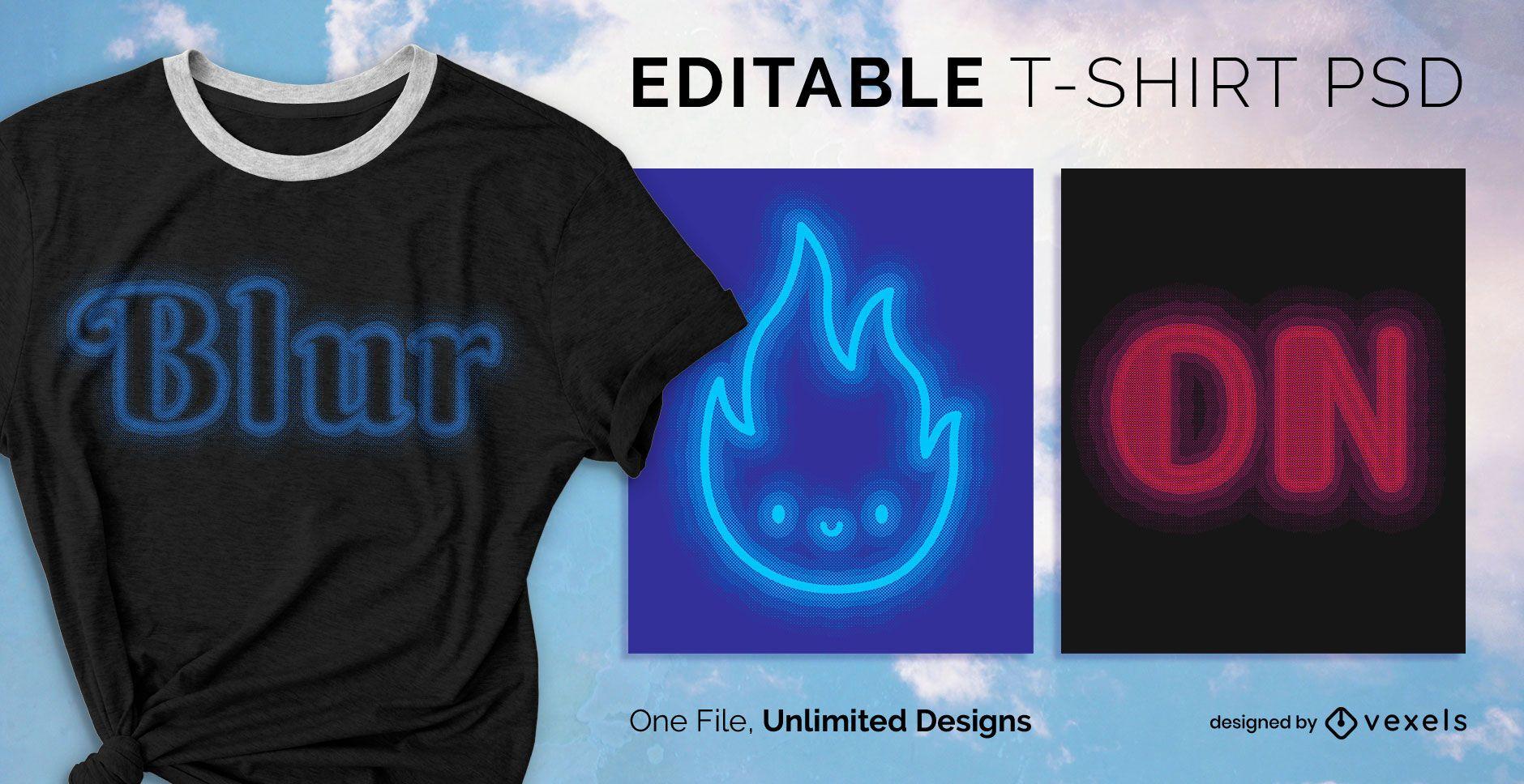Blurry Text Effect T-shirt Design PSD
