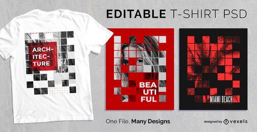 Diseño de camiseta de cuadrícula cuadrada abstracta PSD