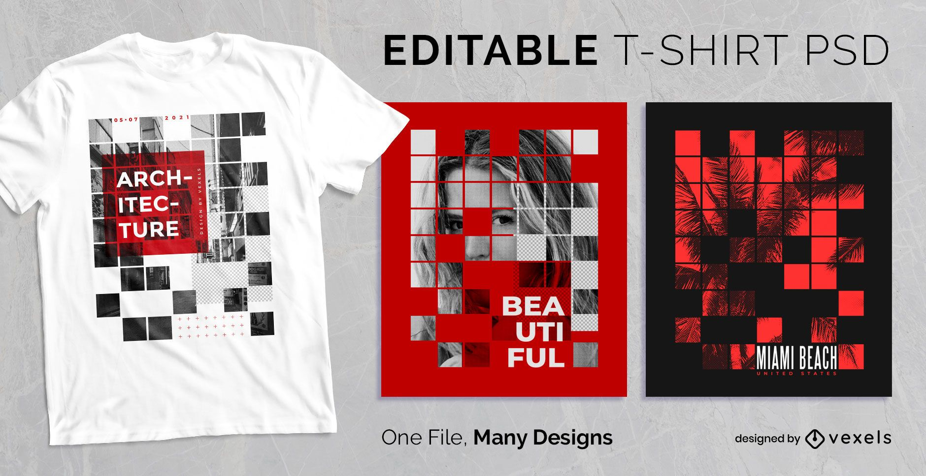 Abstract Square Grid T-shirt Design PSD